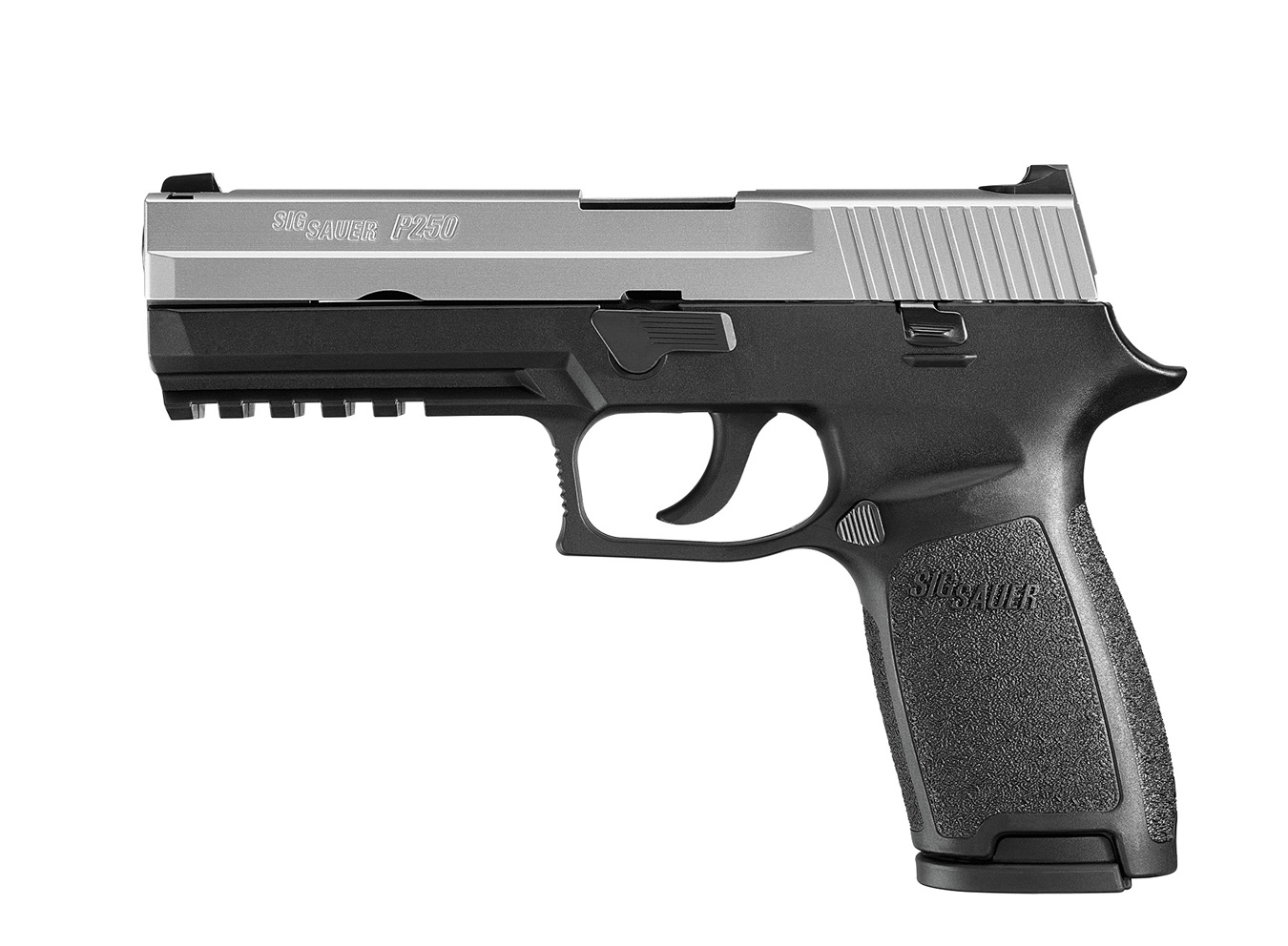 SIG P250 pistol, left profile, two tone