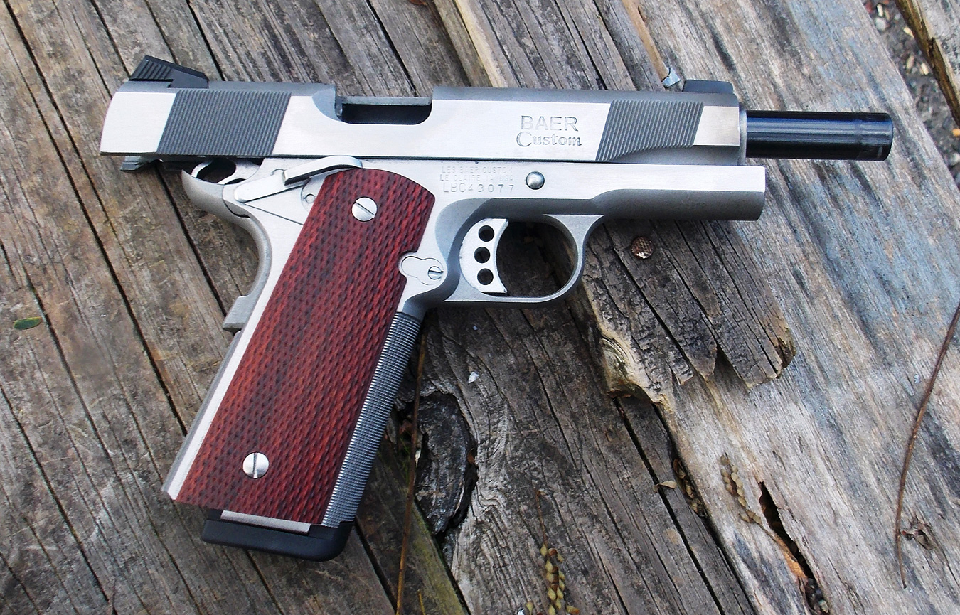 The Les Baer Concept VI 1911 with slide locked back.