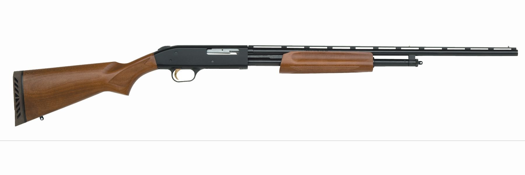 Mossberg 500 shotgun with wood furniture, right profile