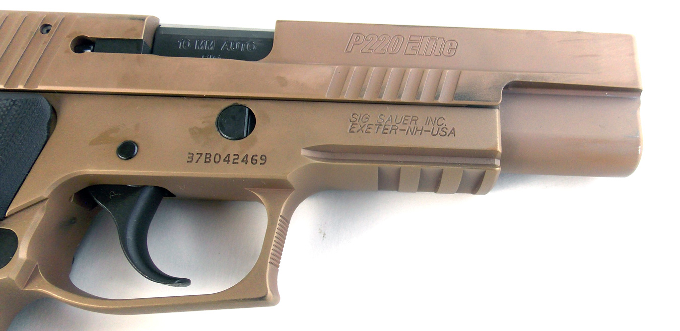 Light rail on the frame of the SIG Sauer Emperor Scorpion pistol
