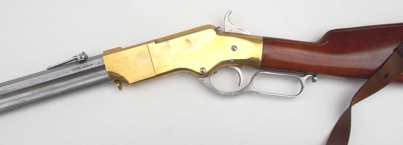 Brass receiver on a Henry rifle