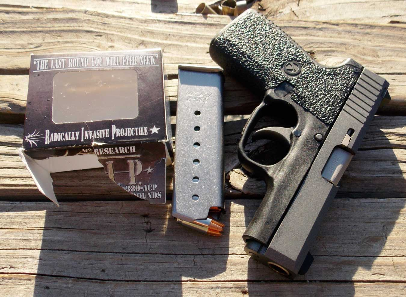 Kahr .380 Tungsten piastol with magazine and Gorilla ammunition