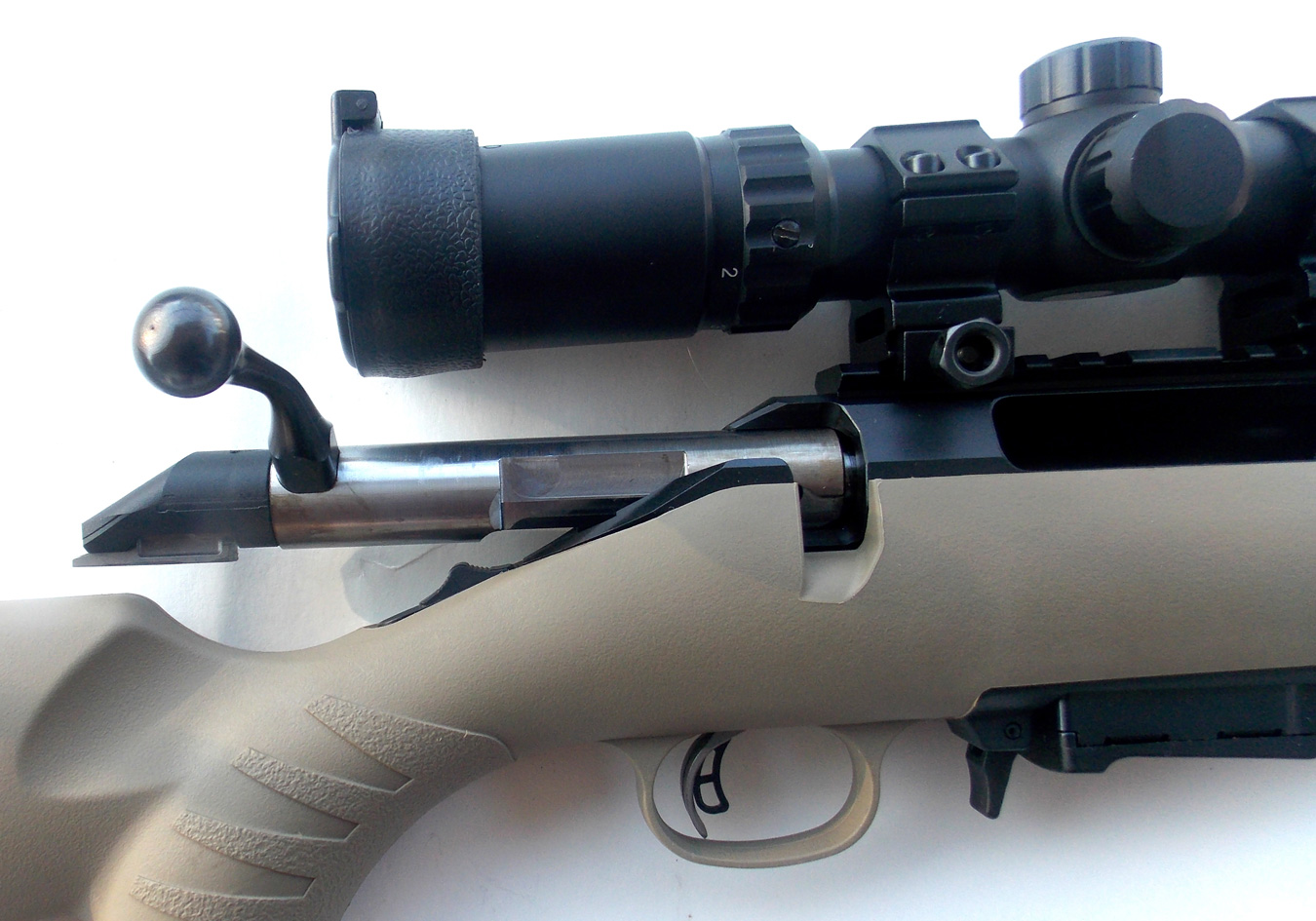 Ruger American rifle with the bolt in the open position