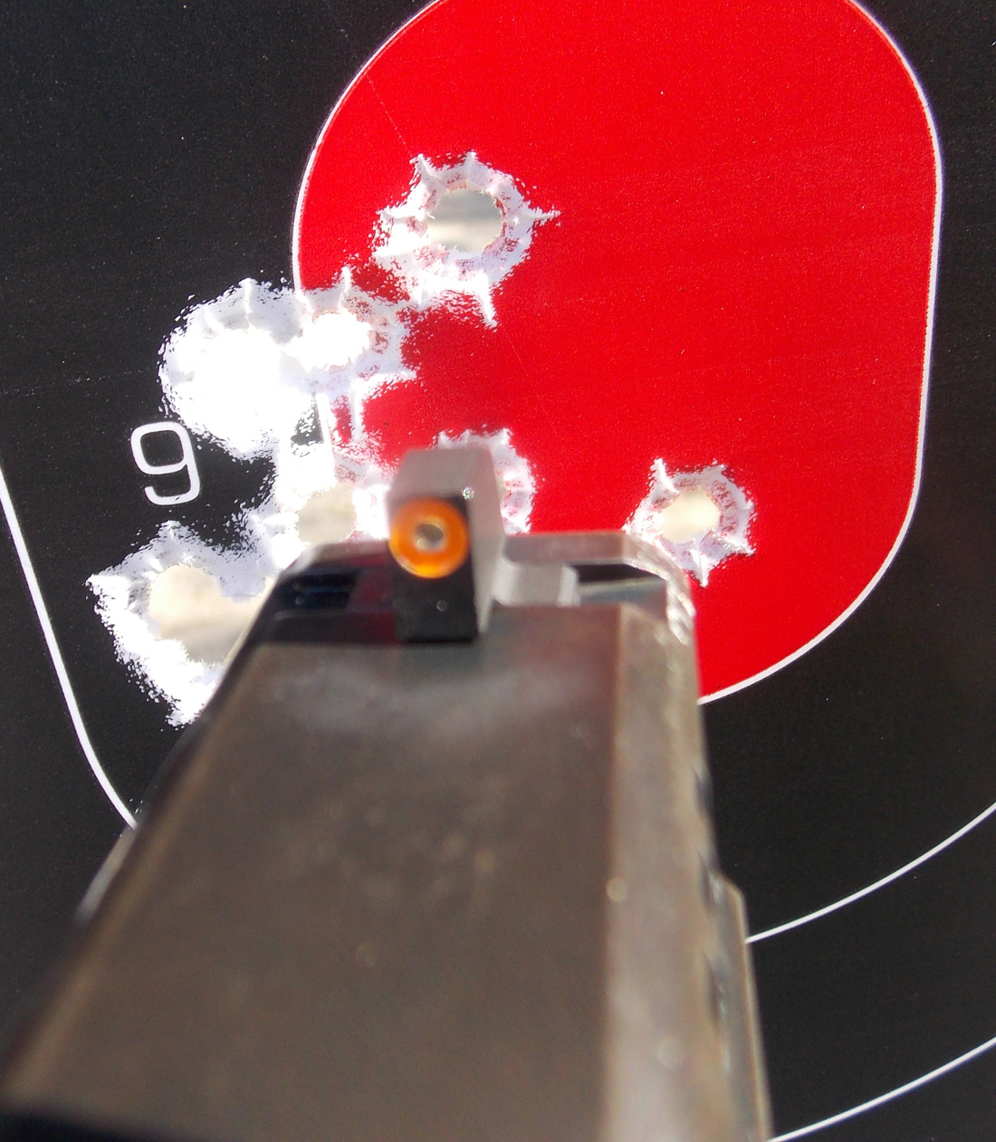 Shot grouping after firing the Springfield XD with XS Sights