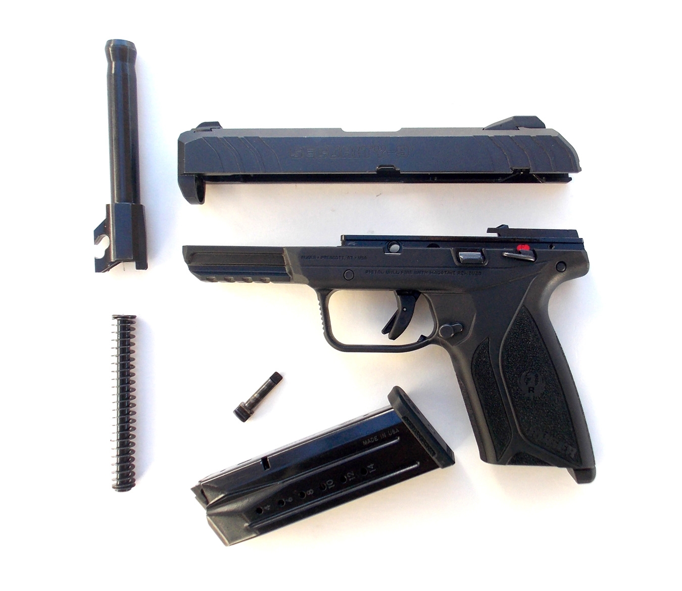 Field stripped Ruger Security-9 pistol