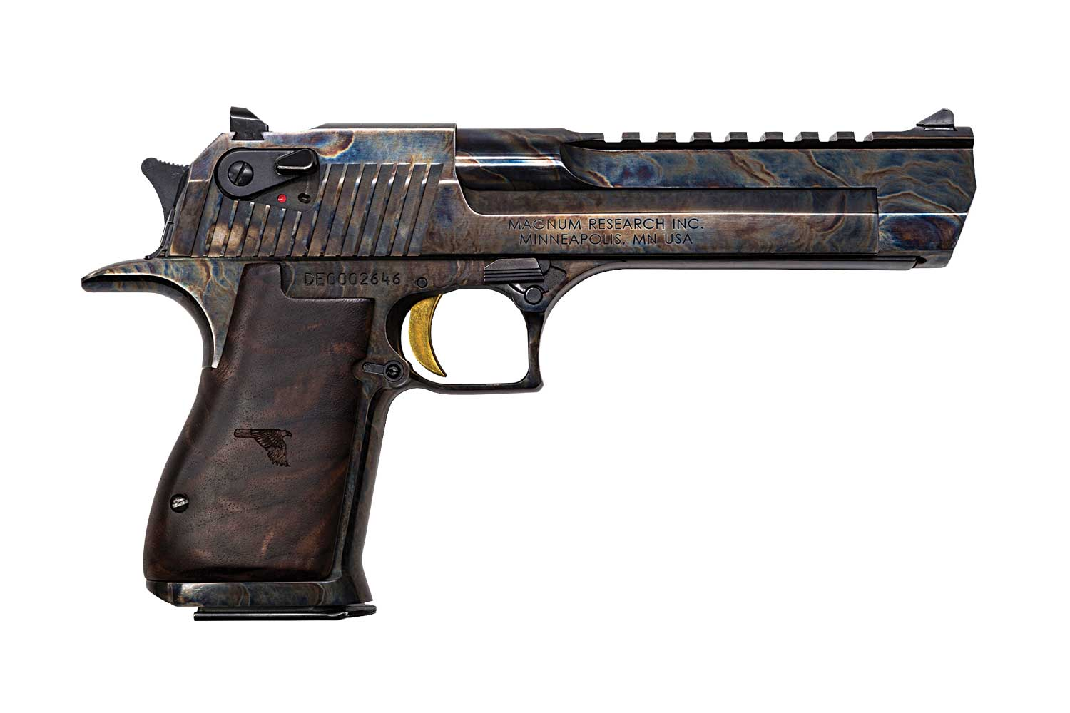 Desert Eagle pistol with case-hardened finish