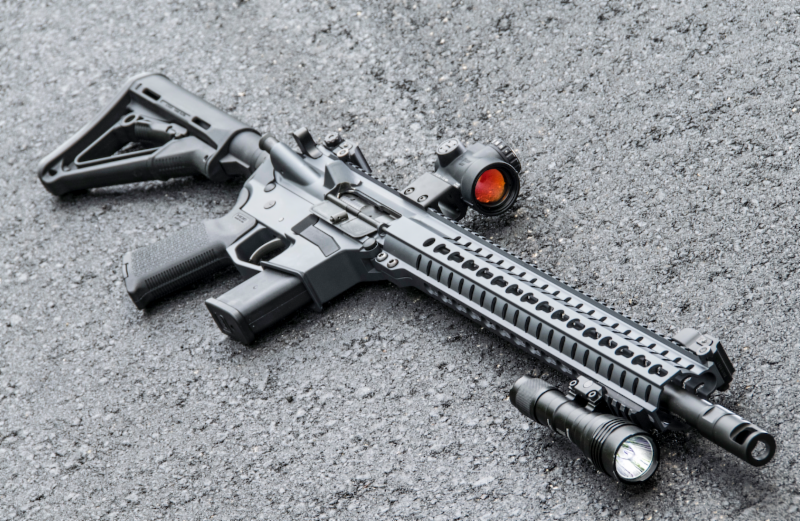 CMMG MkG Guard in 450 SMC with combat light and red dot optic