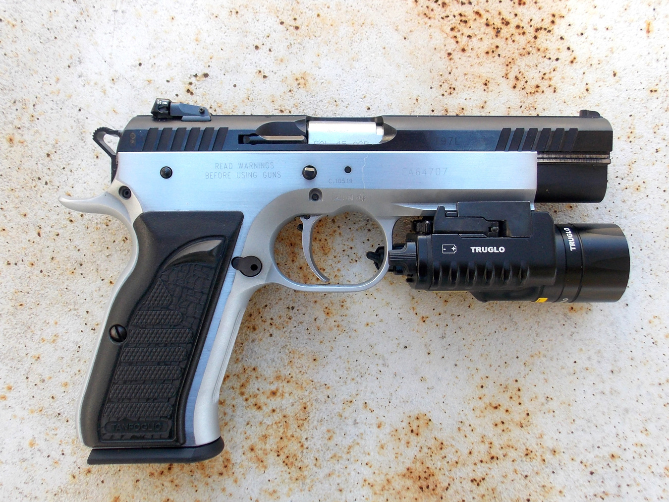 EAA Witness Elite Match pistol with TruGlo combat light right profile