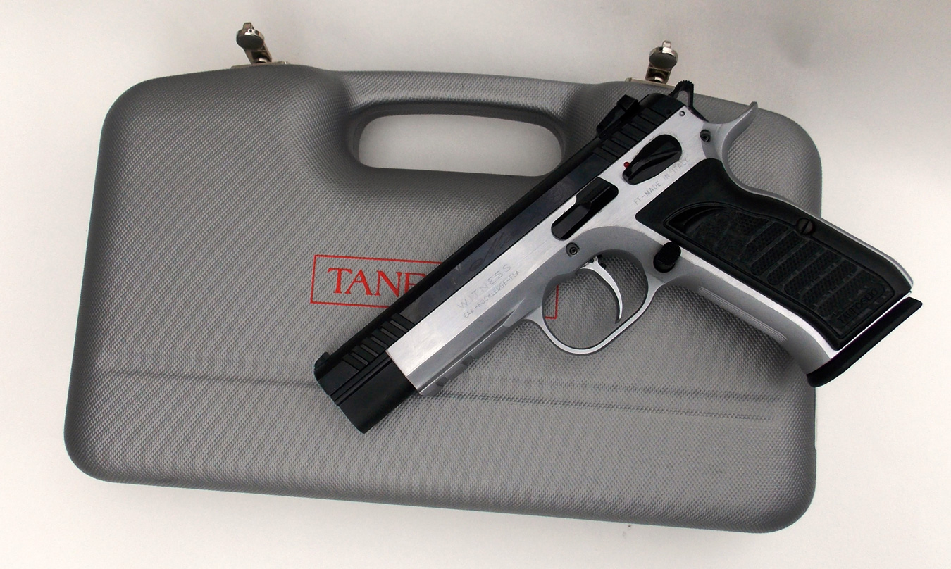 EAA Witness Match pistol on top of a gray hardcase