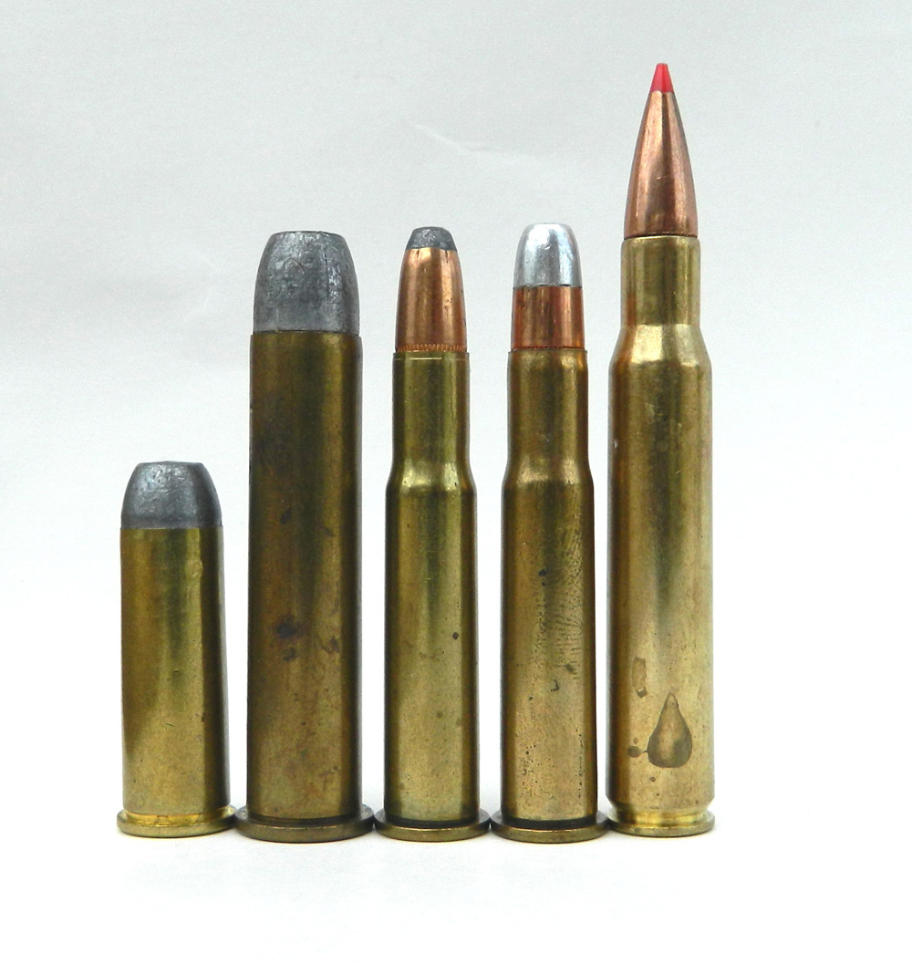 .44-40, .45 70, .30-30 WCF, .32 WS, and .308 Winchester cartridges