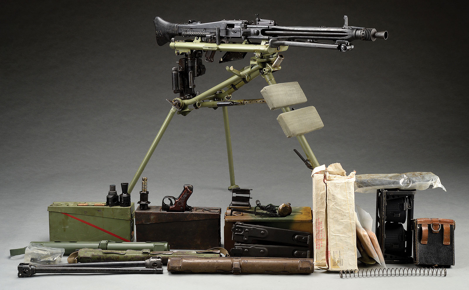 Mauser Manufactured WWII German MG42 Machine Gun on Lafette Mount with Accessories