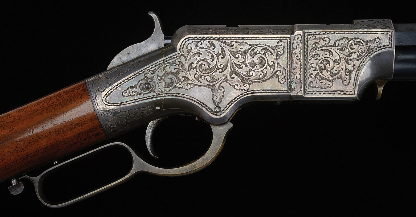 Engraved and Silver Plated Henry Rifle with Deluxe Wood from the Ray Bentley Collection
