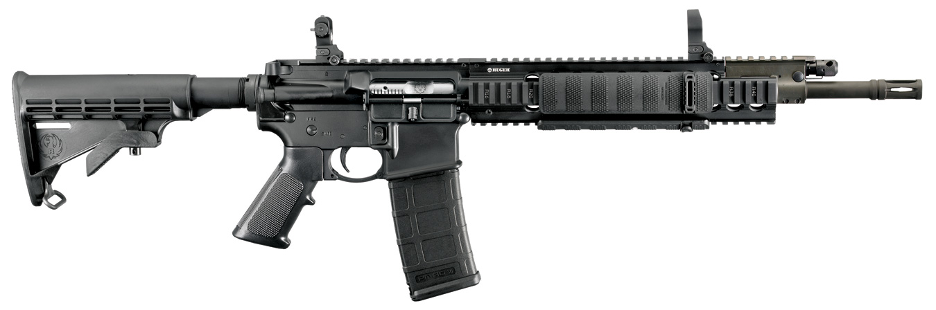 Ruger SR556 rifle, black, right profile
