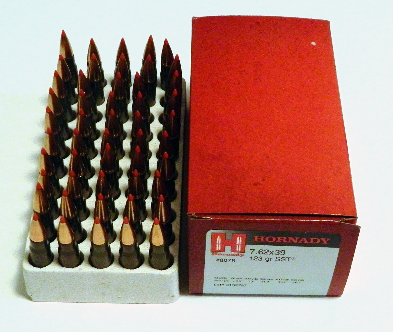 Hornady .223 ammunition with red box