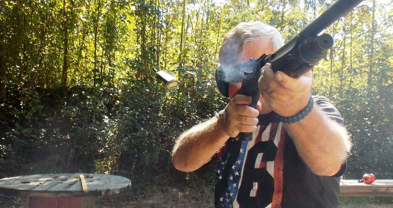 bob Campbell shooting the TEC 12 shotgun