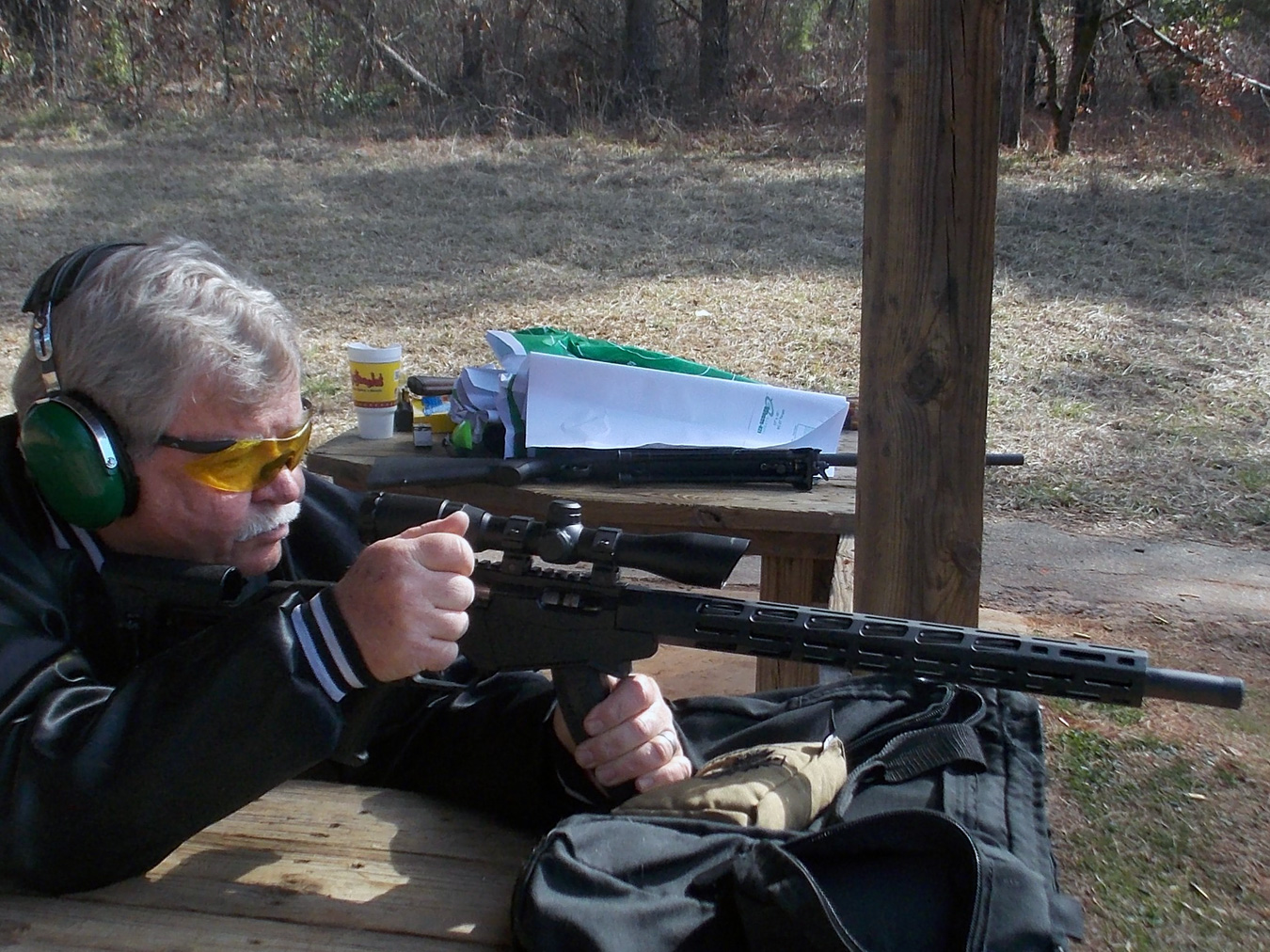 Bob Campbell shooting the Ruger Rimfire Precision rifle from the bench