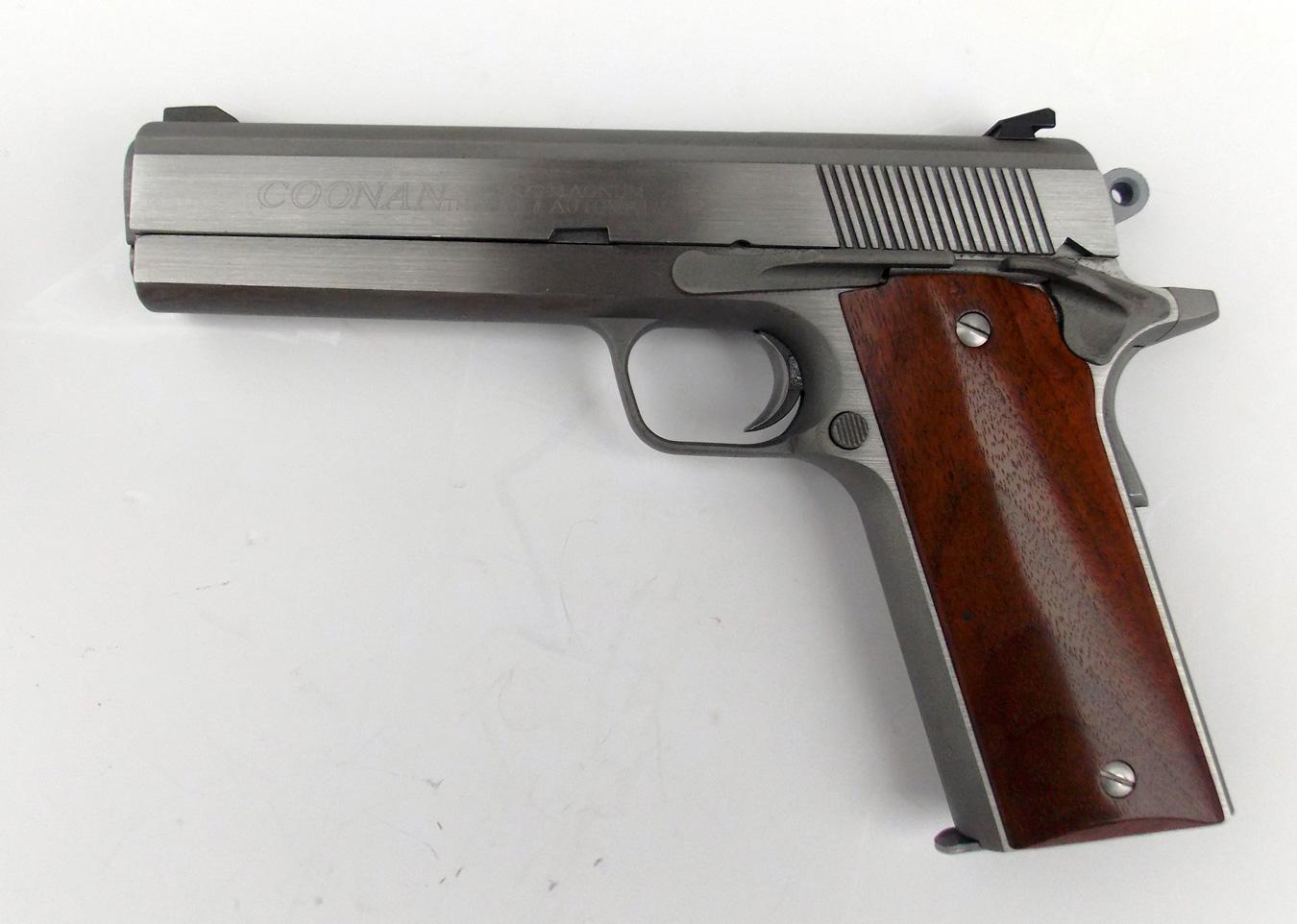 Coonan .357 magnum 1911-style handgun, left profile