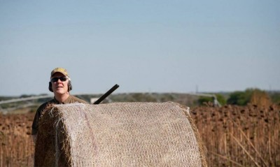 Senator Cornyn dove hunting from behind a bale blind