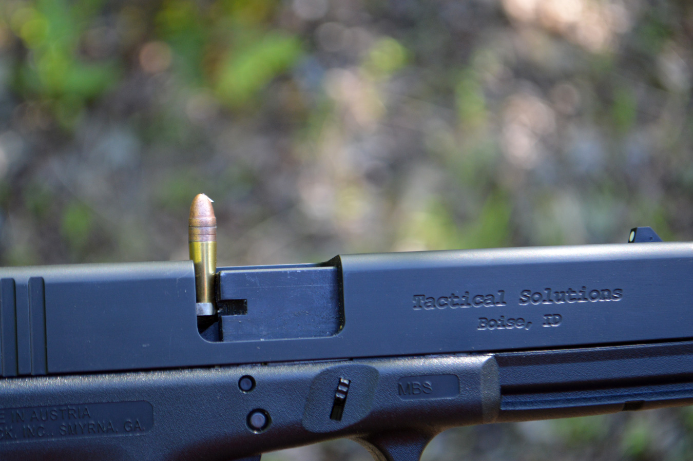 .22 LR pistol with a stovepiped round