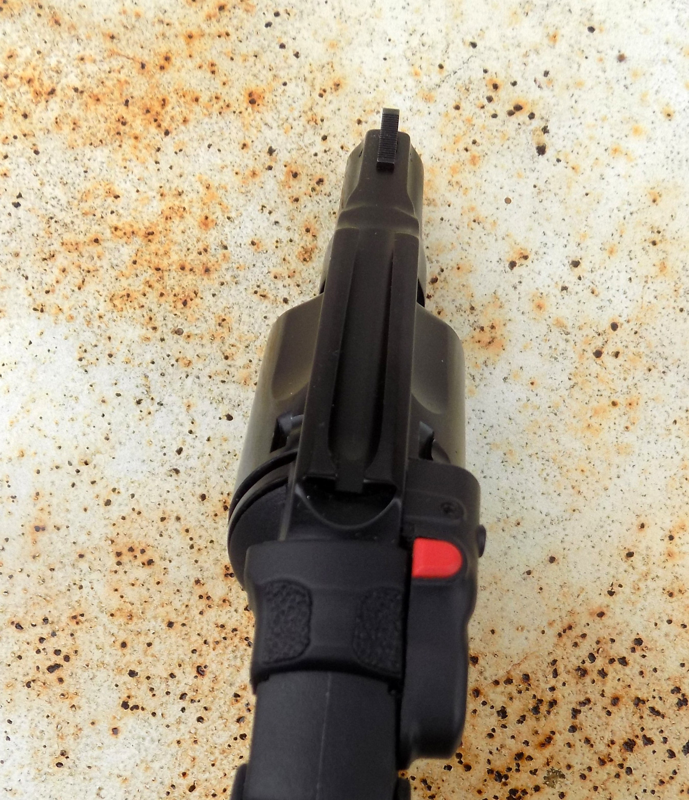 rear view of the Smith and Wesson Bodyguard relover with Crimson Trace laser installed