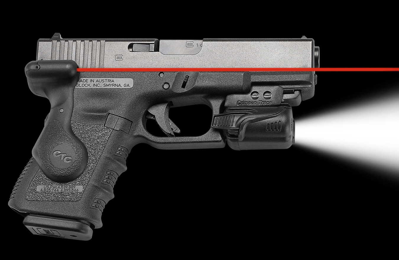 pistol with combat light and Crimson Trace Lasergrip installed