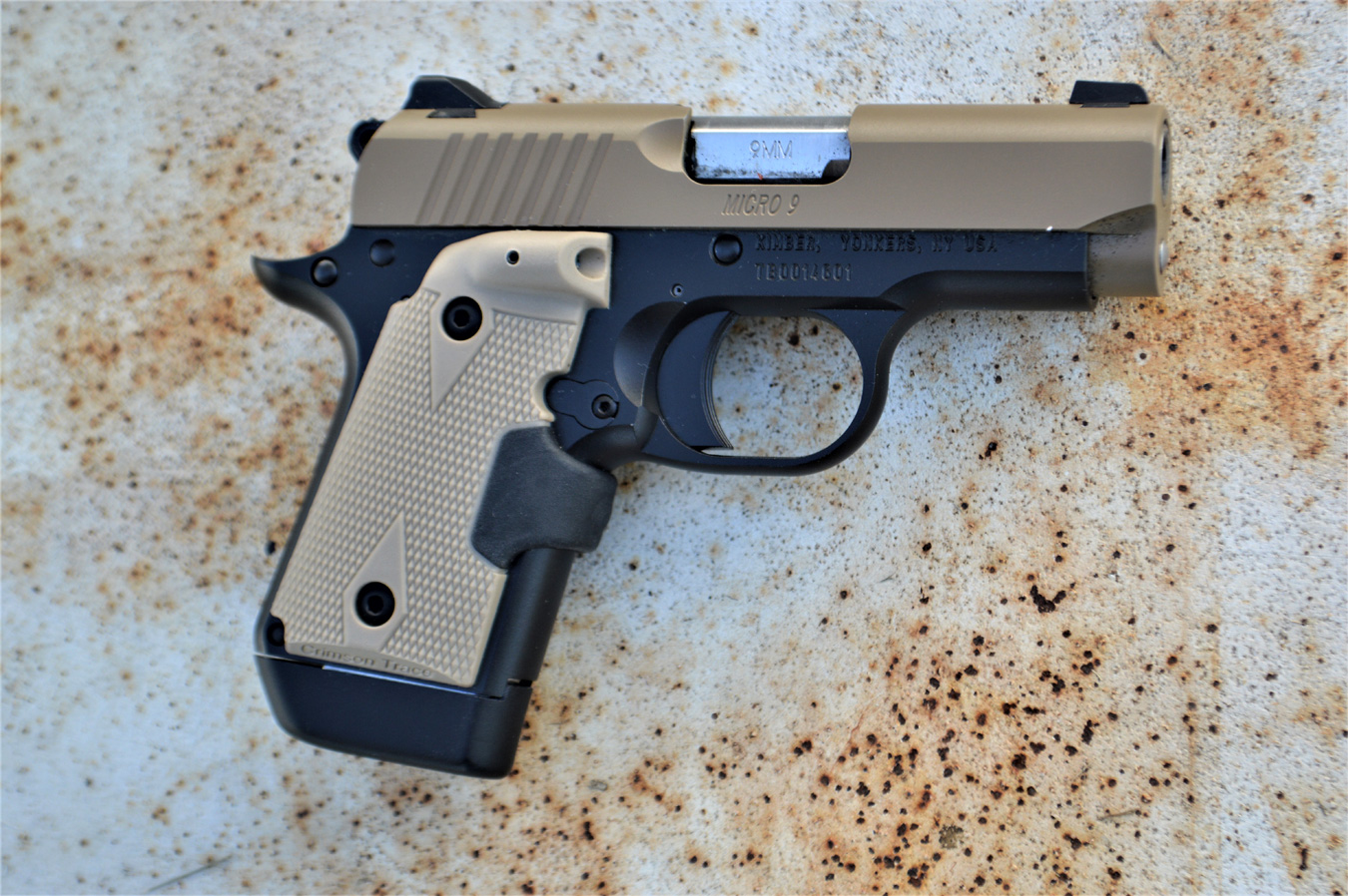 Kimber Micro 9 pistol with Crimson Trace Lasergrip