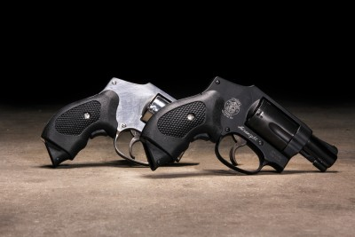 Two Smith and Wesson revolvers with Pachmayr grips