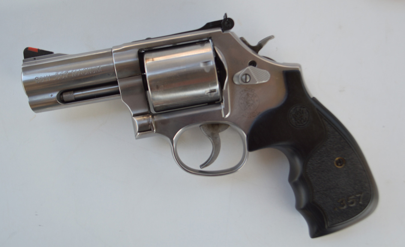 Smith and Wesson 686 plus revolver, left, profile
