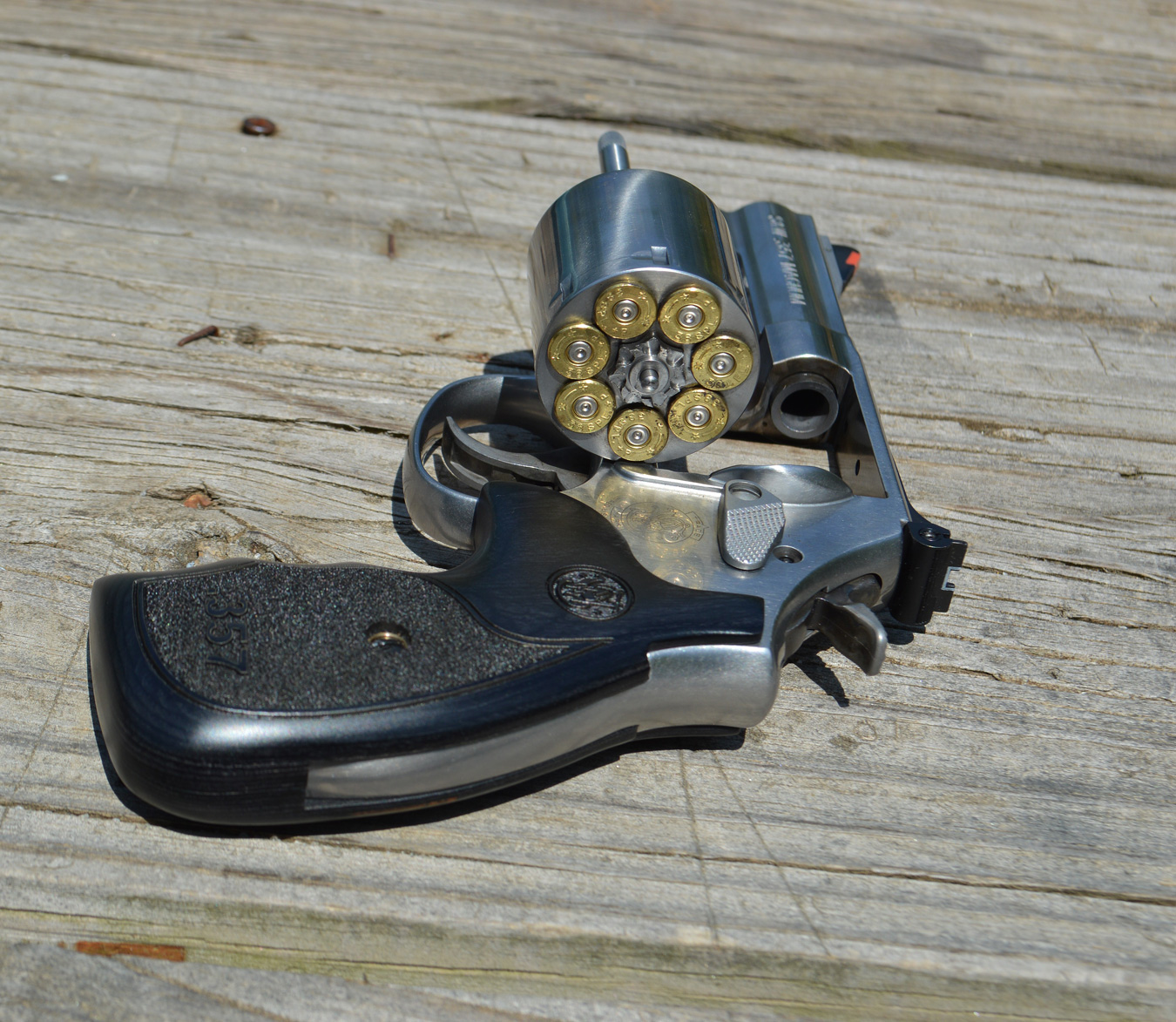 Smith and Wesson 686 plus revolver with open loaded cylinder