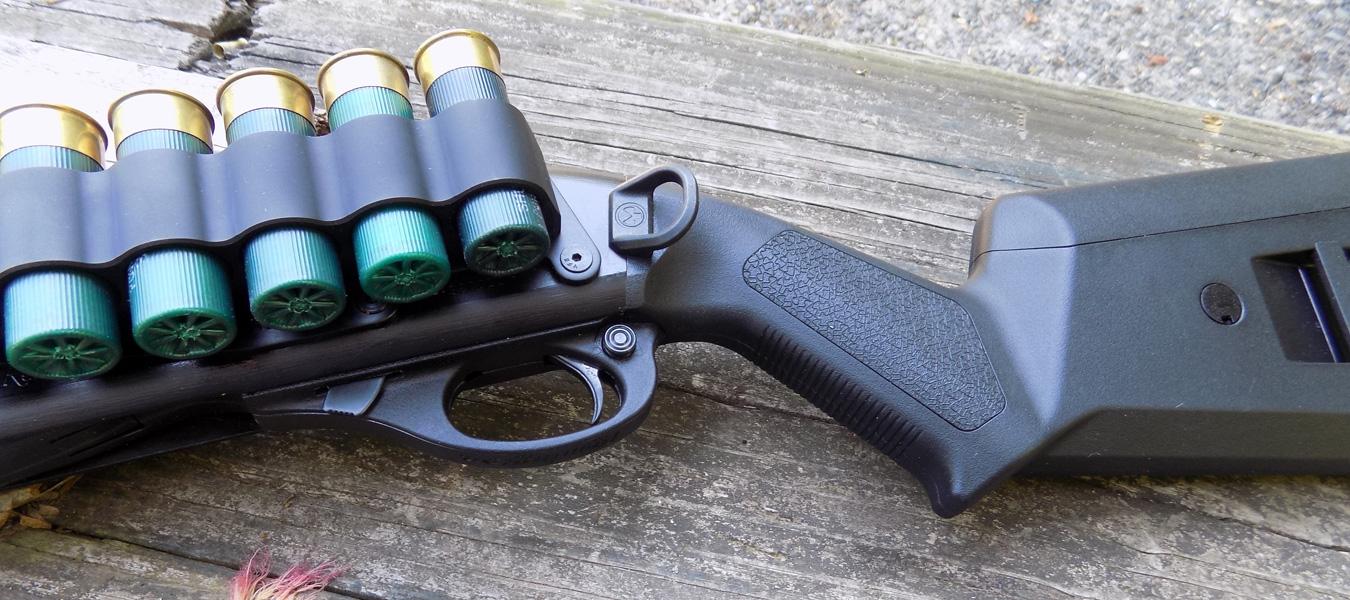 Angled pistol grip of the Magpul SGA stock