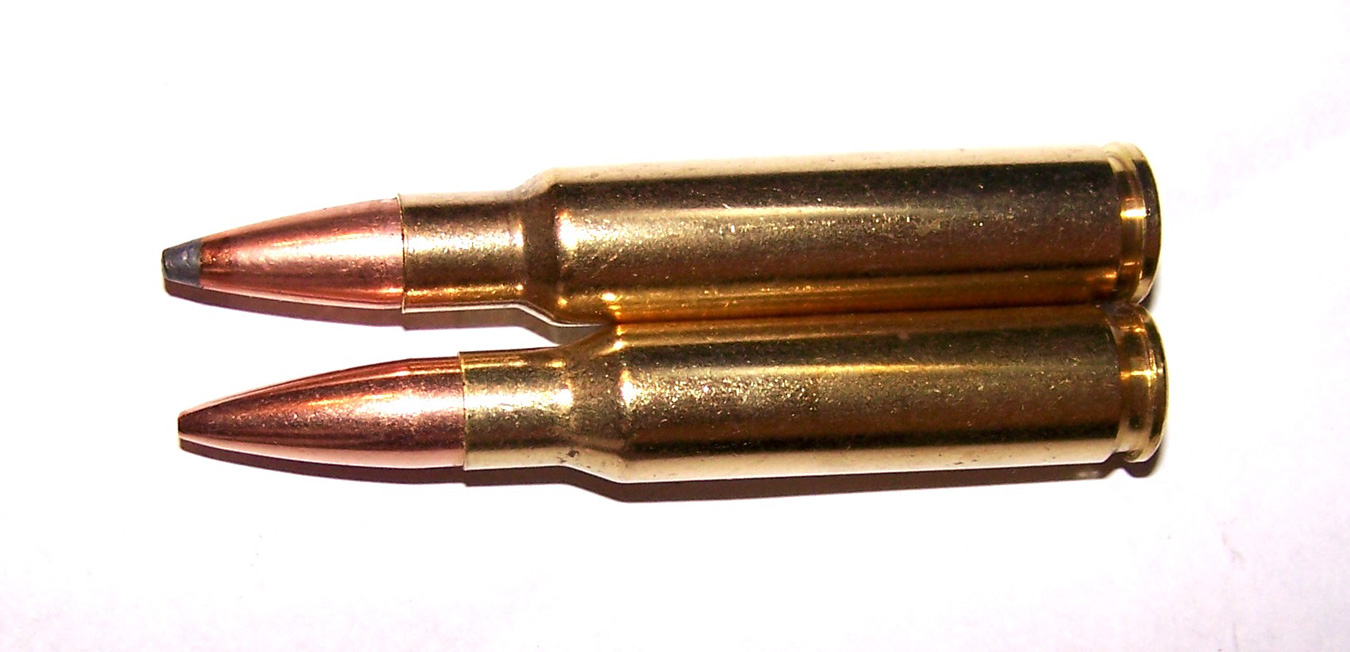 two .308 Win. cartridges loaded with different bullets