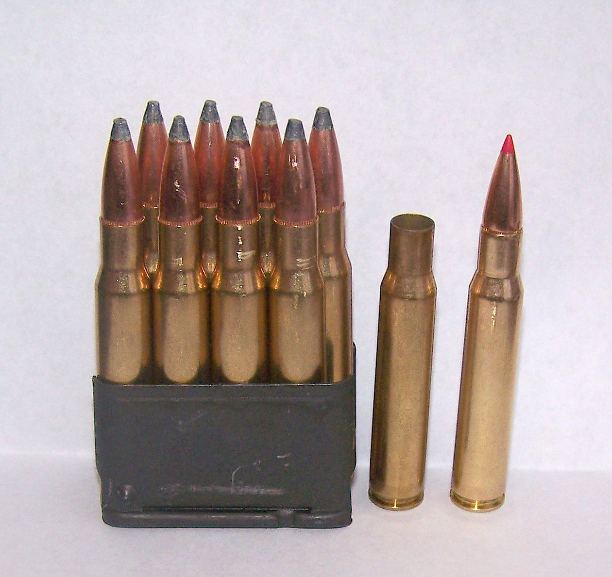 Magazine loaded with .308 Winchester ammunition