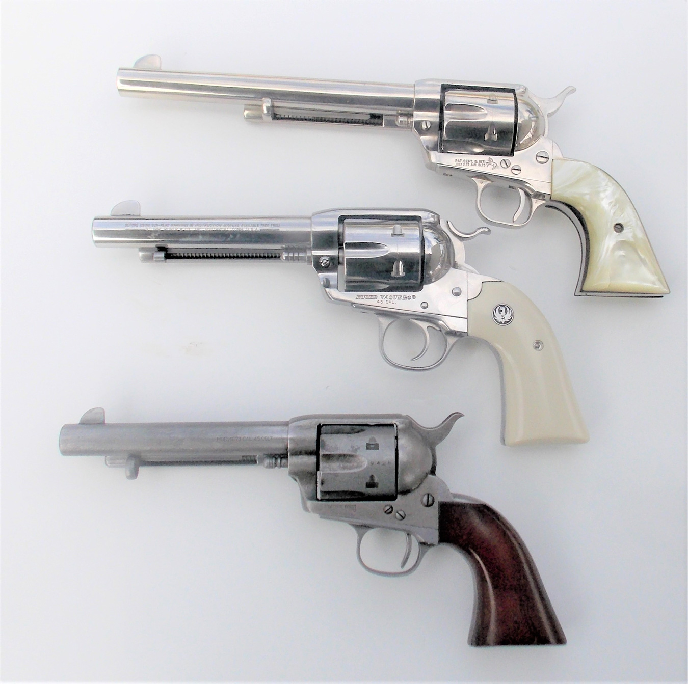 Colt, Ruger, and Cimarron single-action revolvers