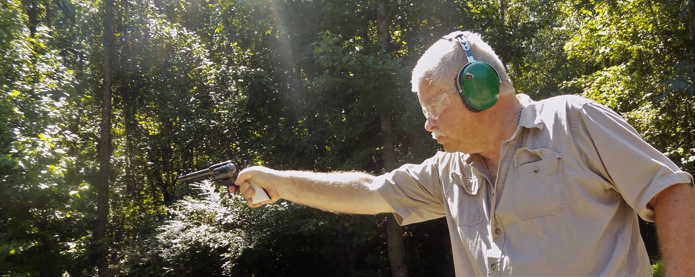 Bob campbell shooting a revolver one handed