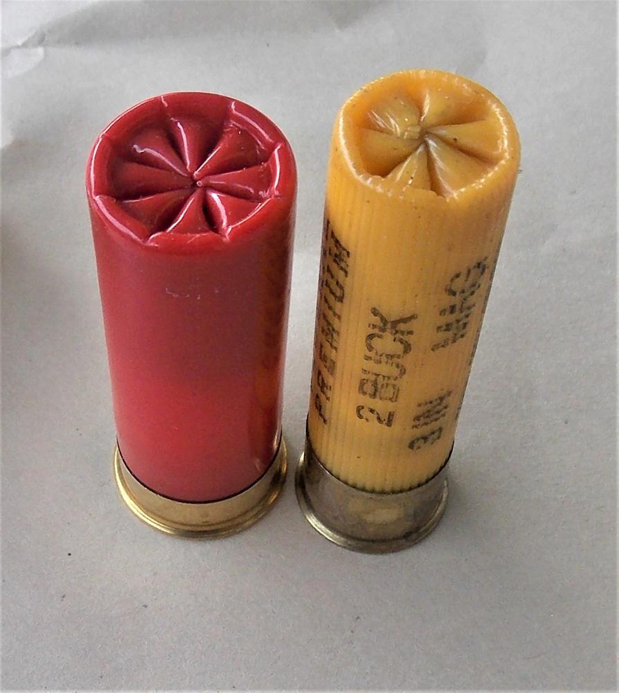 12 gauge shotshell left, 20 gauge shotshell right
