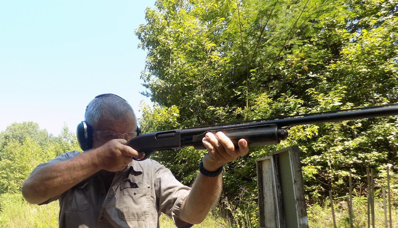 Bob Campbell shooting a 20 gauge REmington 870 shotgun