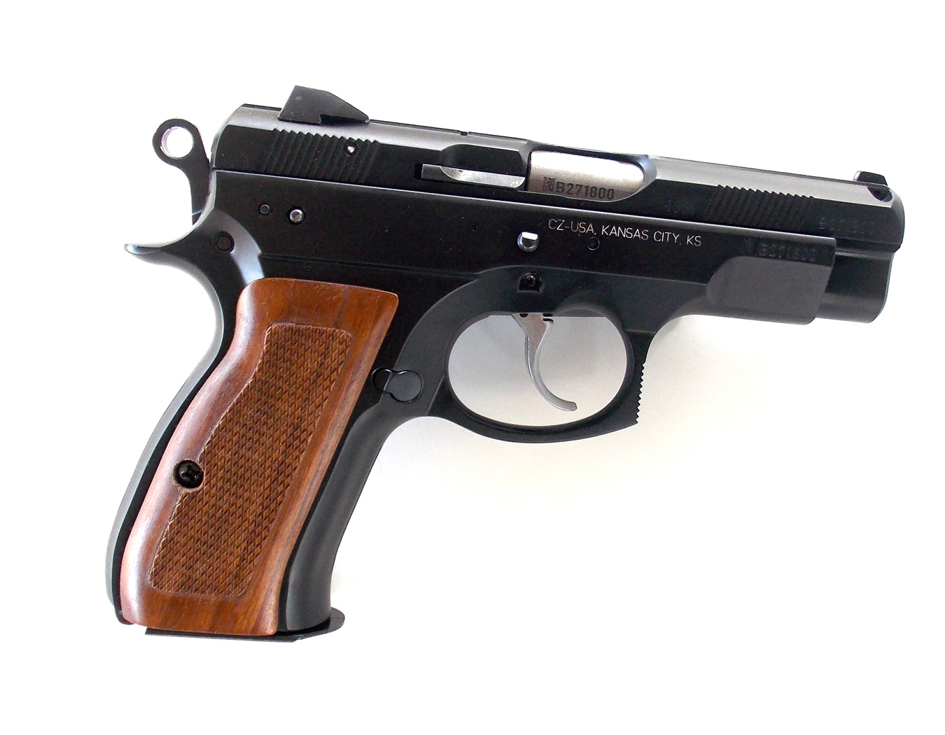 CZ 75 handgun with wood grips right profile