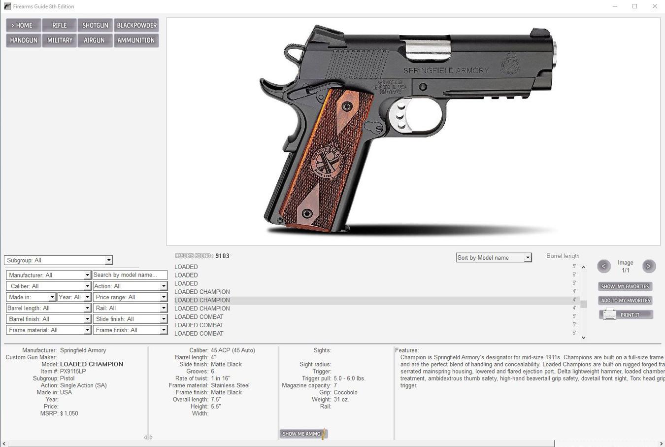 Firearms Guide handgun schematic