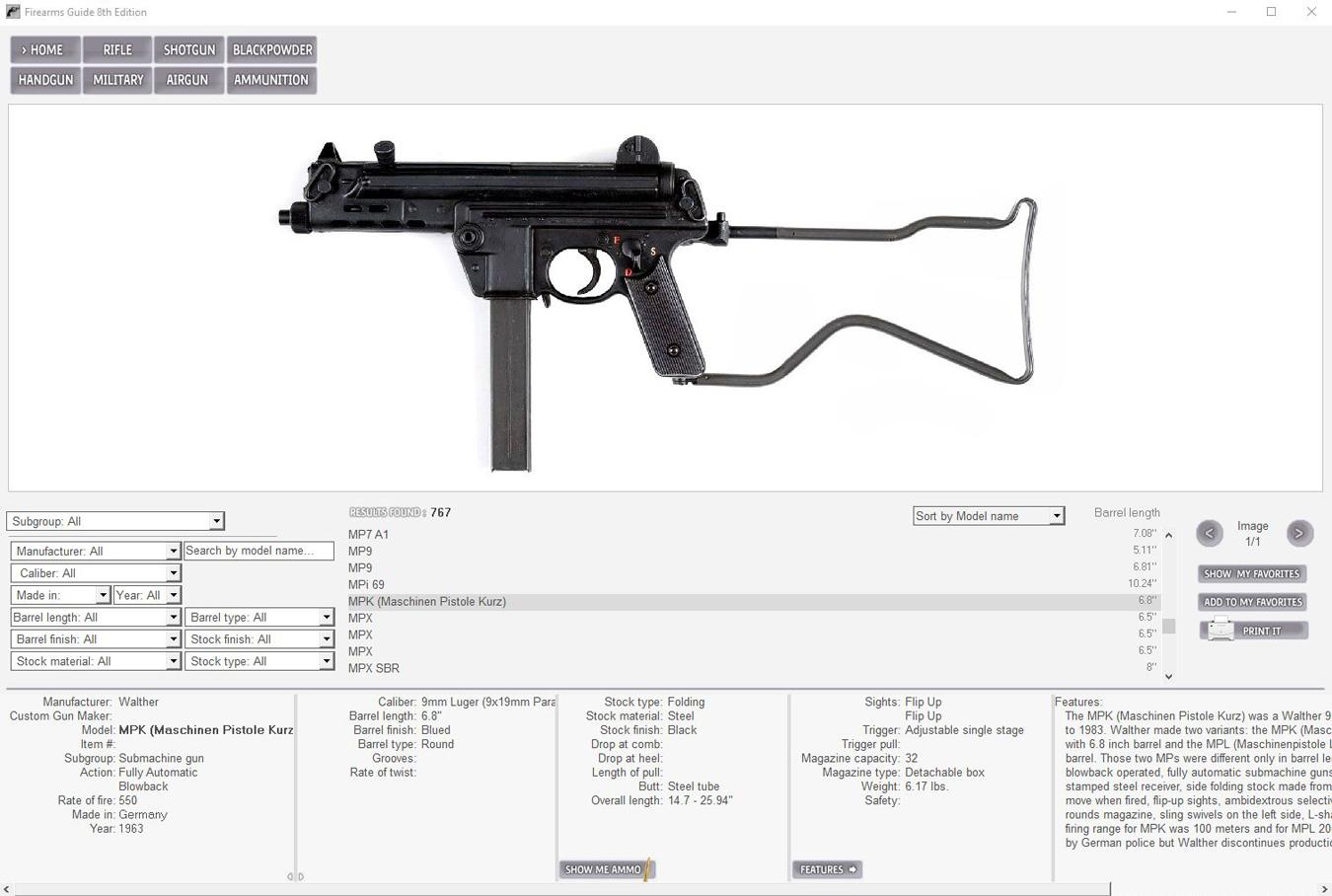 Firearms Guide submachine gun schematic