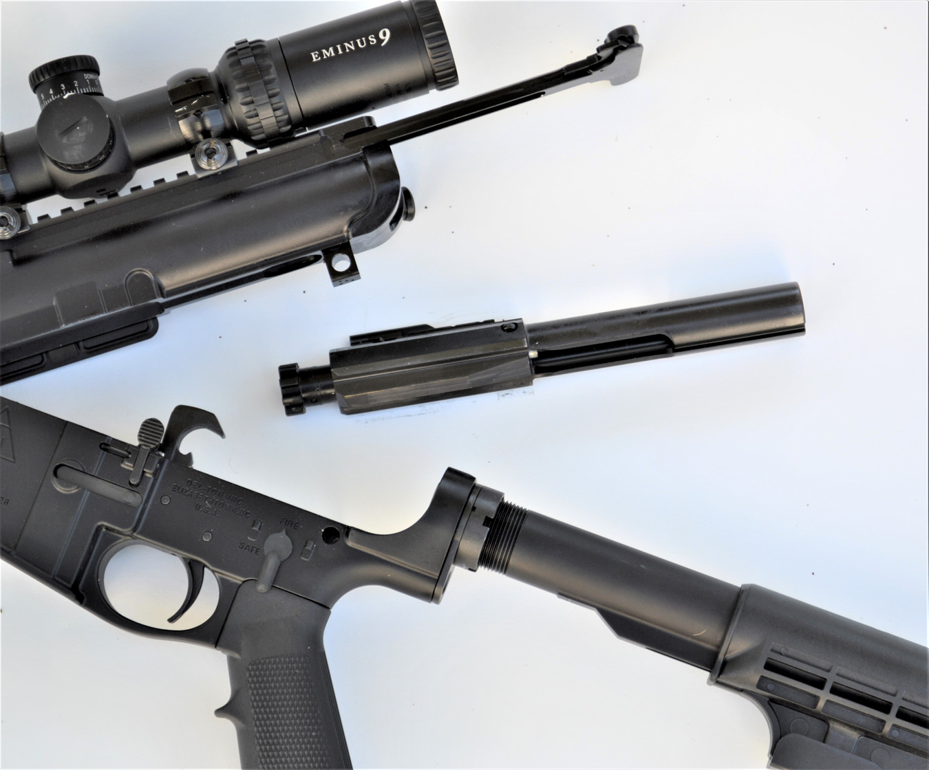 Fieldstripped AR-10 rifle
