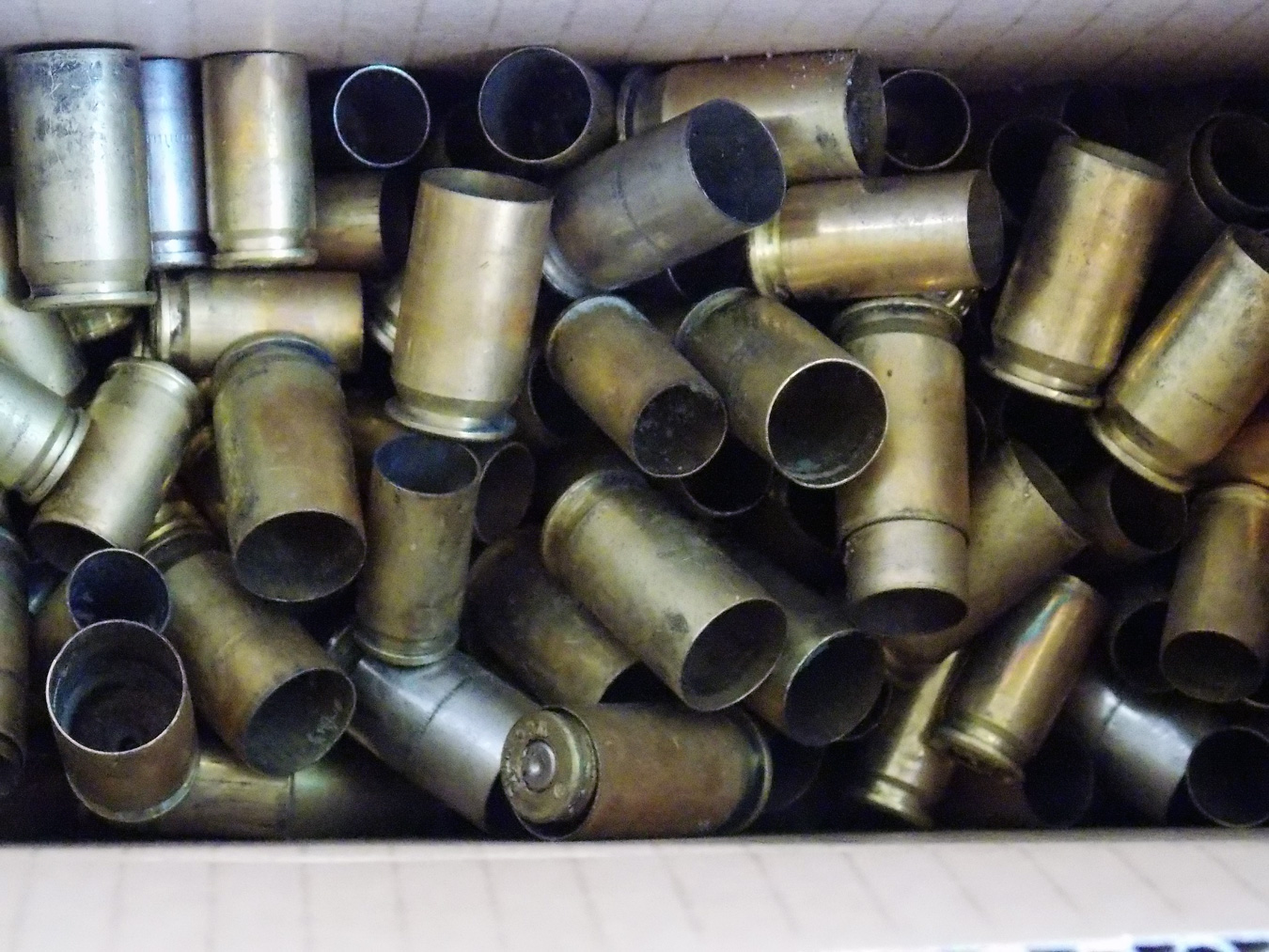 Empty brass cartridges for a pistol