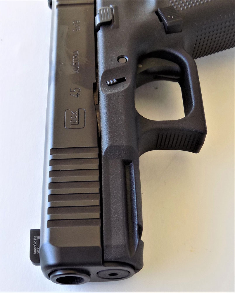 Forward cocking serrations on the Glock 45