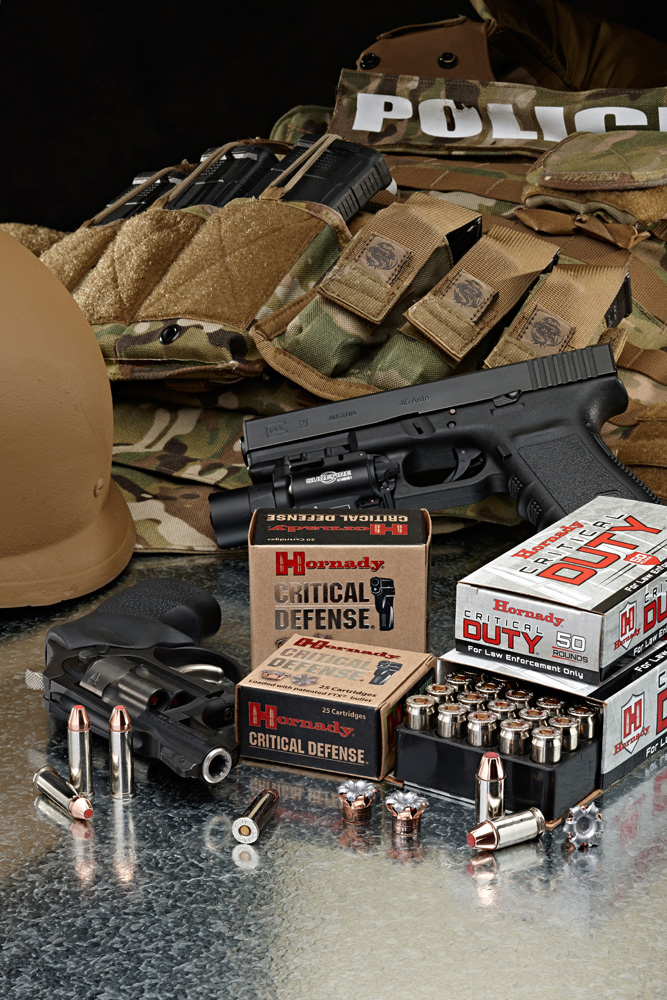 Hornady Critical Defense ammunition with tactical vest and handguns