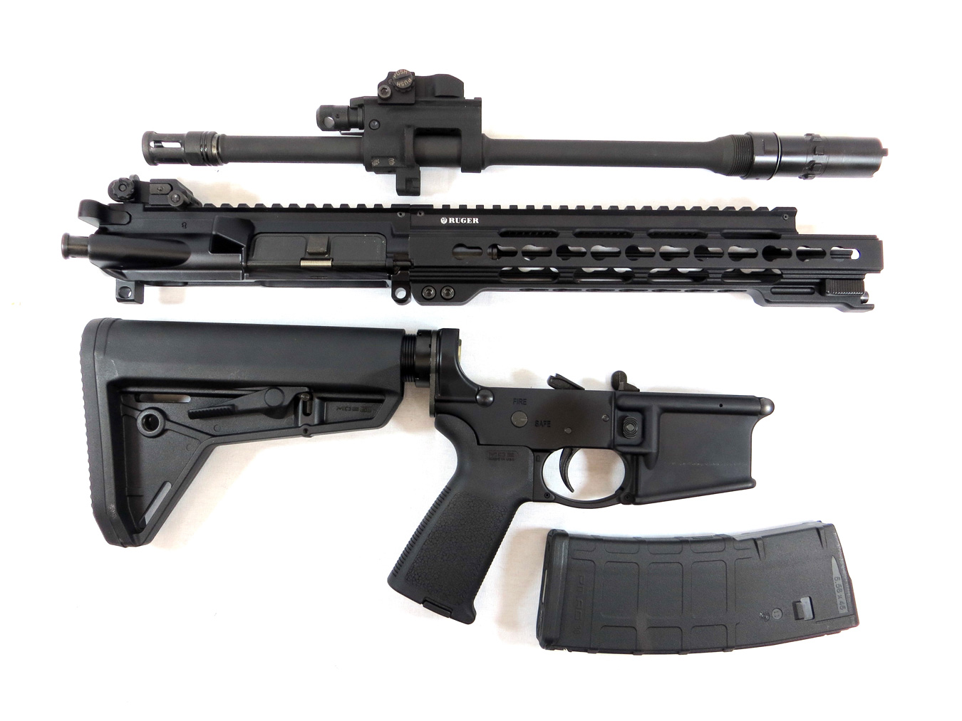 Disassembled Ruger takedown AR-15