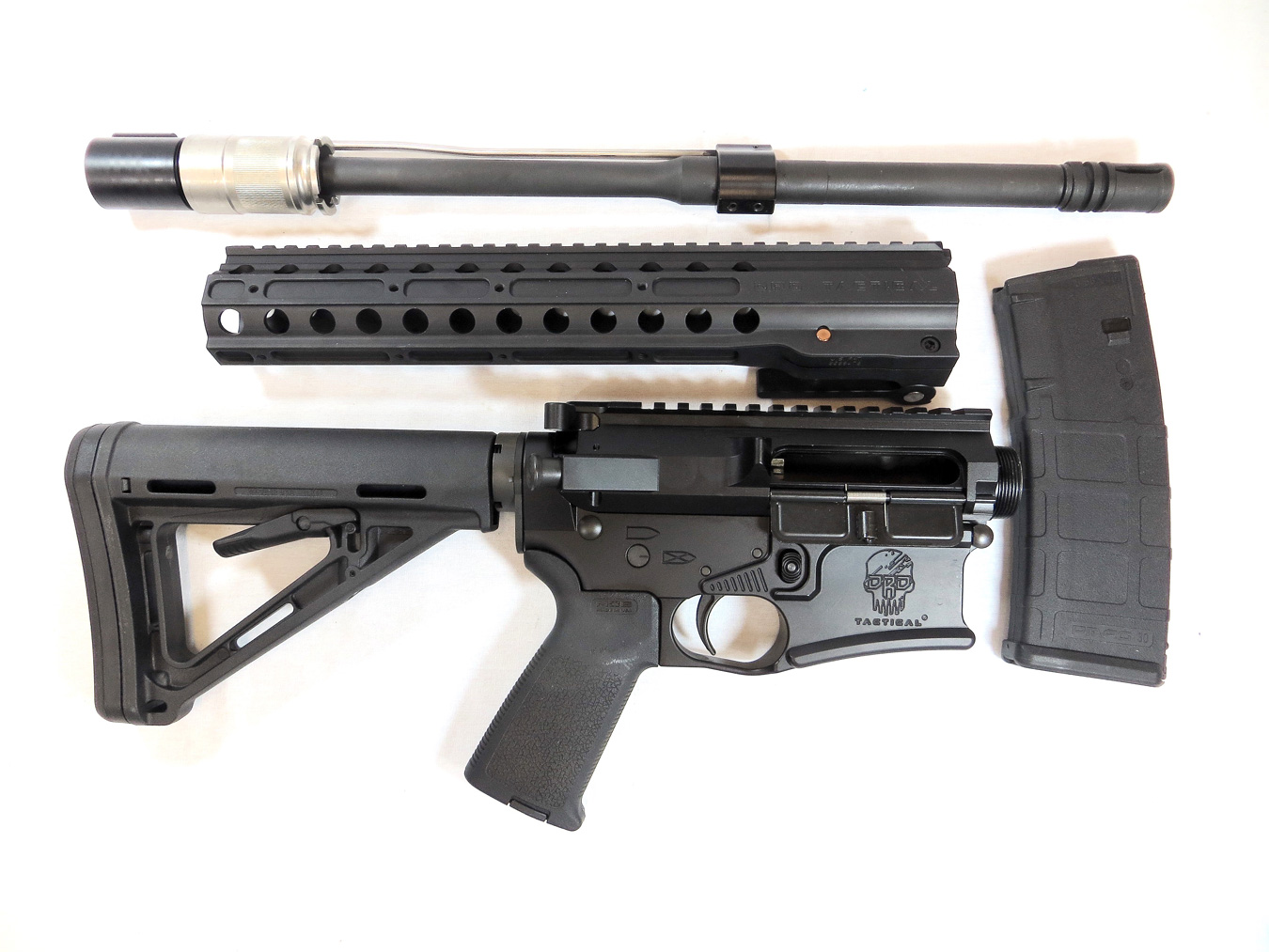 Disassembled DRD AR-15 rifle