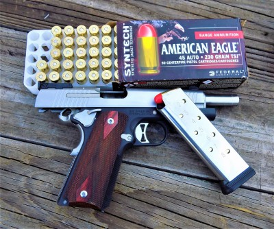 SIG Sauer 1911 handgun with Federal Syntech ammunition