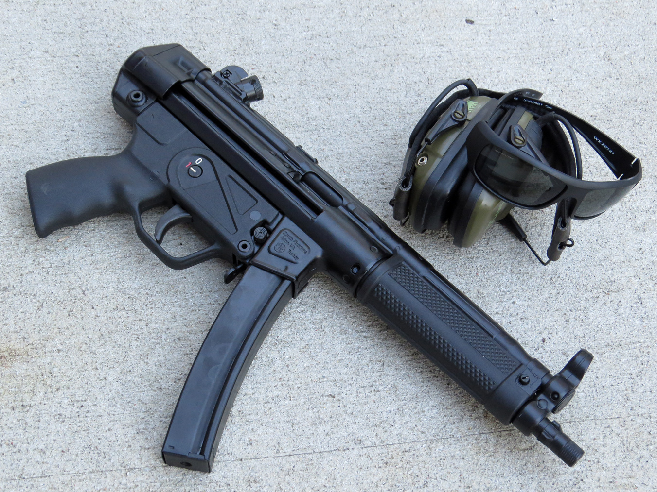 Zenith MKE Z-5RS MP5 pistol right profile with earmuffs