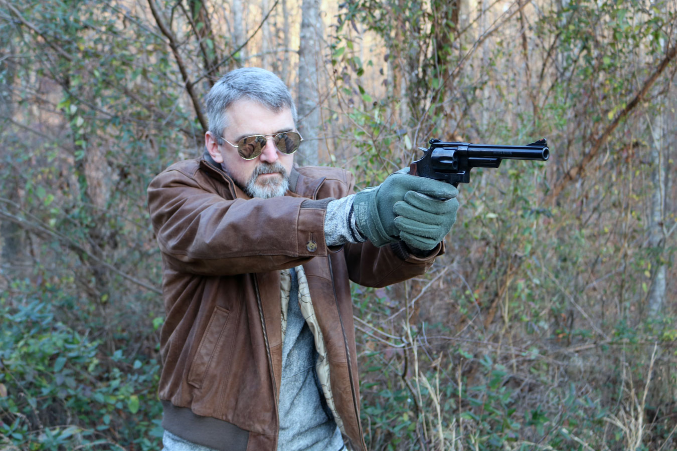 Will Dabbs shooting the Smith and Wesson Model 29 revolver