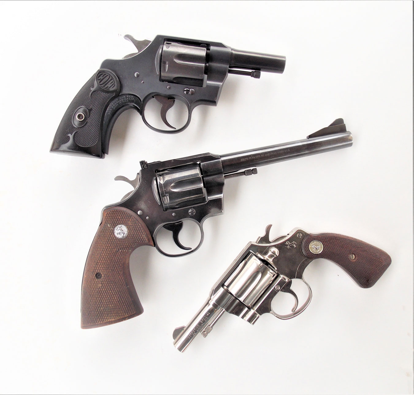 The Colt, half Fitz, and 3-inch detective special revolvers