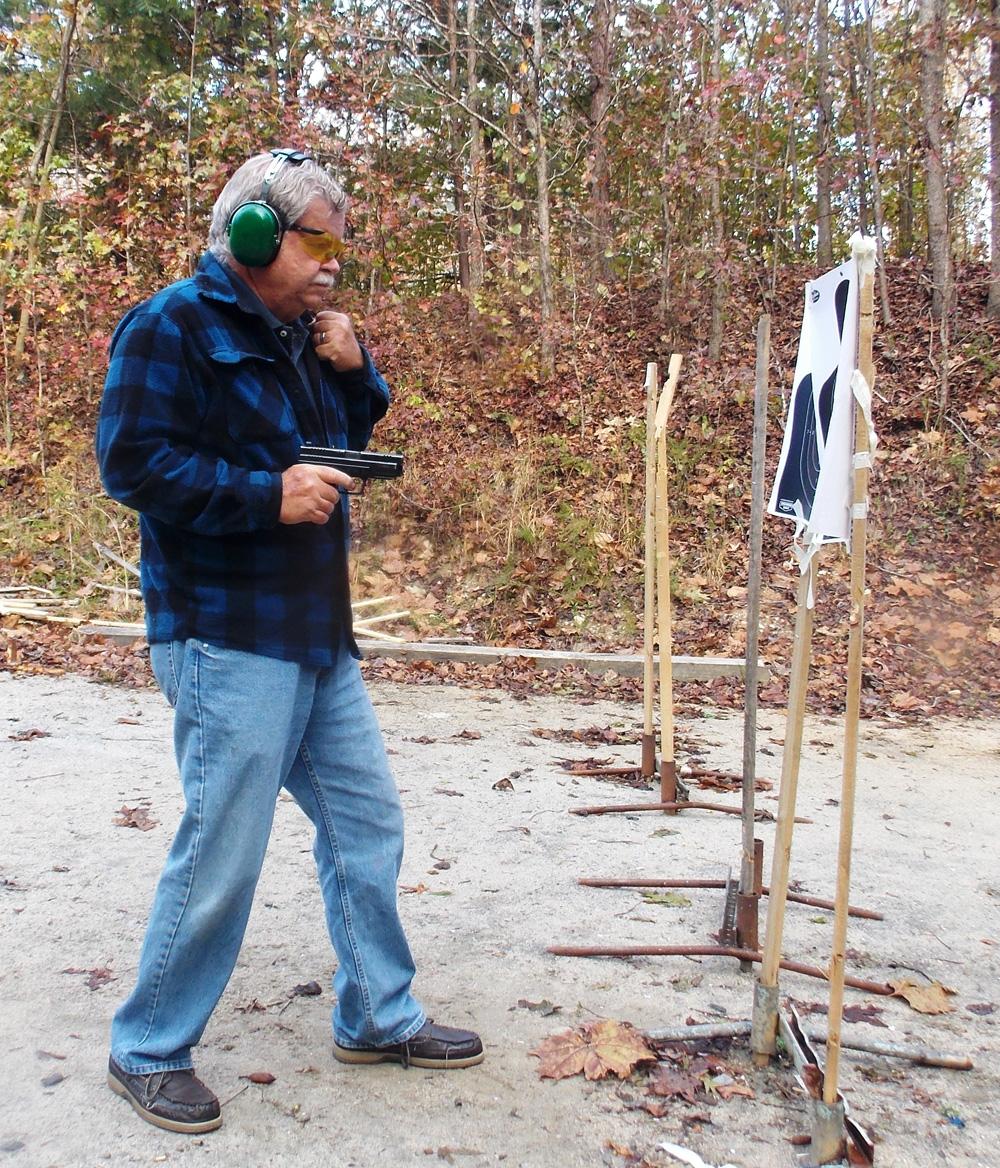 Bob Campbell  Shooting a .357 SIG from close range